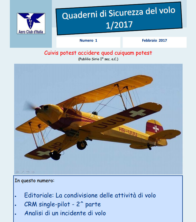 1° Quaderno Sicurezza Volo AeCi anno 2017